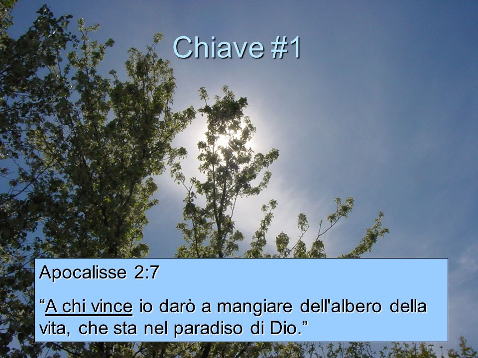 Chiave #1Apocalisse 2:7.