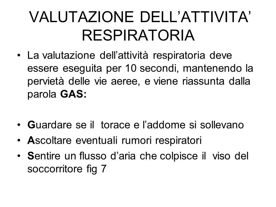 VALUTAZIONE DELL'ATTIVITA' RESPIRATORIA