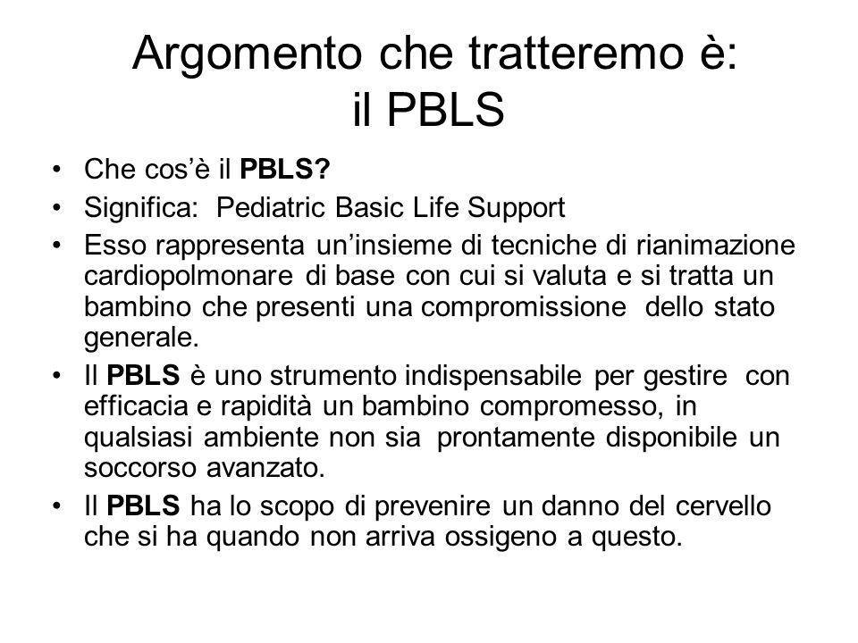 Argomento che tratteremo è: il PBLS