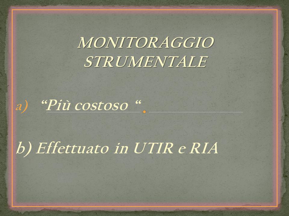 MONITORAGGIO STRUMENTALE Più costoso b) Effettuato in UTIR e RIA