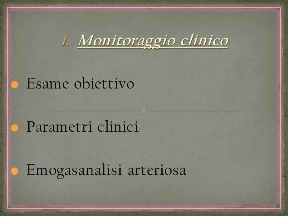 Monitoraggio clinico Esame obiettivo Parametri clinici Emogasanalisi arteriosa