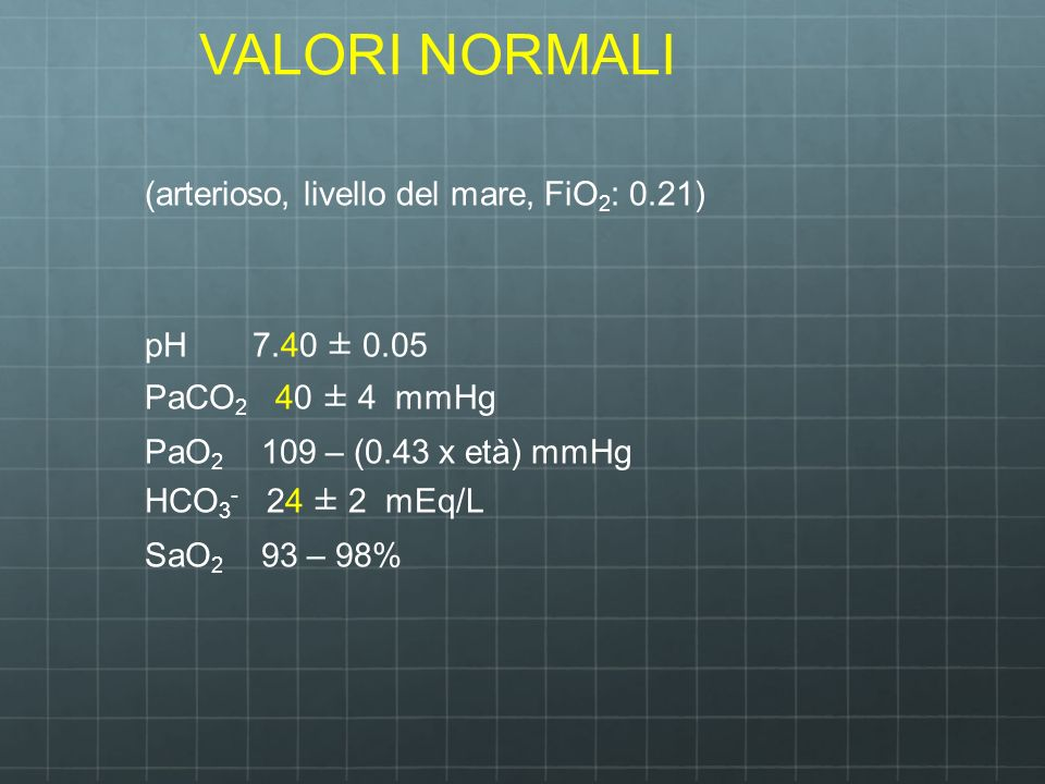 VALORI NORMALI (arterioso, livello del mare, FiO2: 0.21)