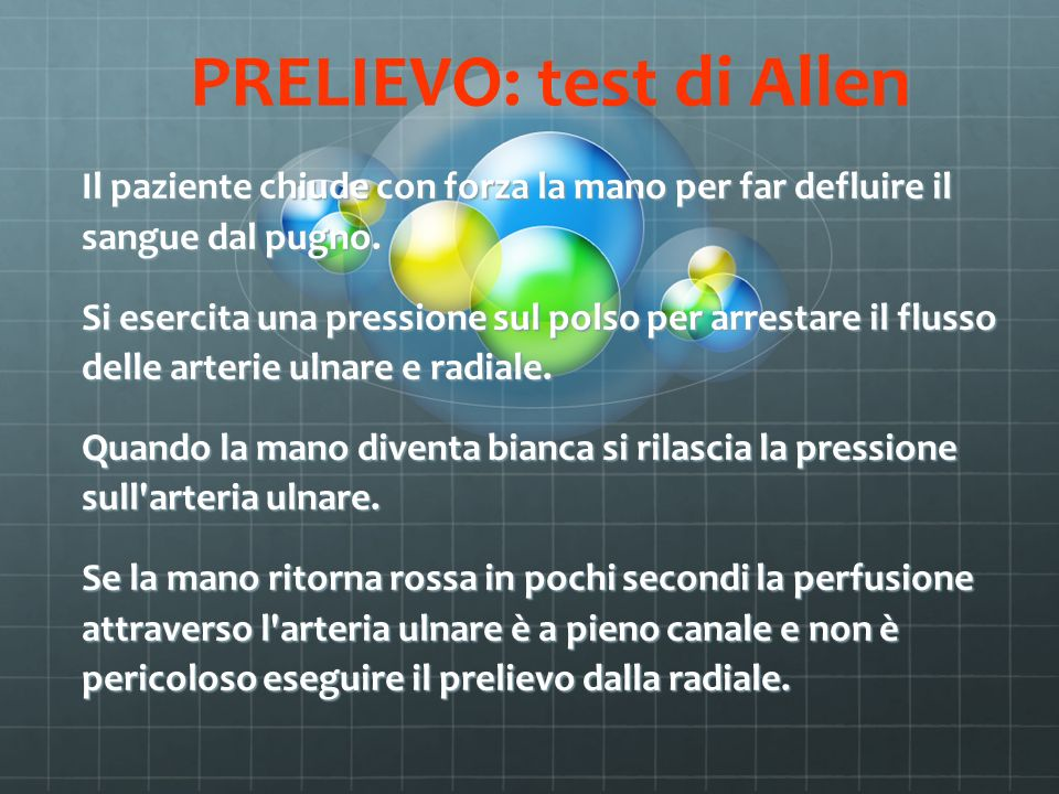 PRELIEVO: test di Allen