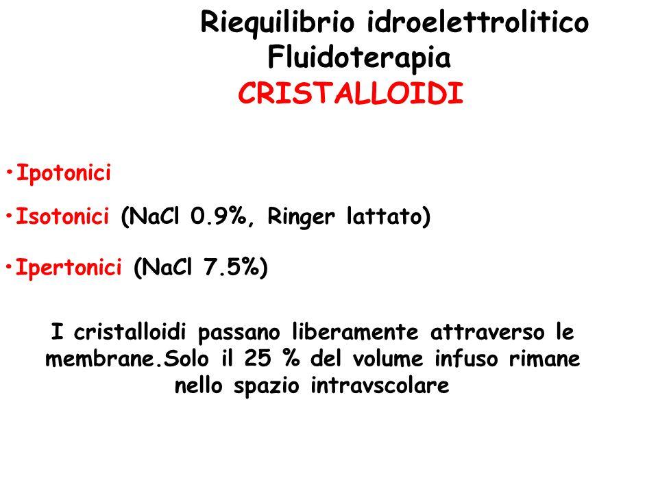 Riequilibrio idroelettrolitico •Isotonici (NaCl 0.9%, Ringer lattato)