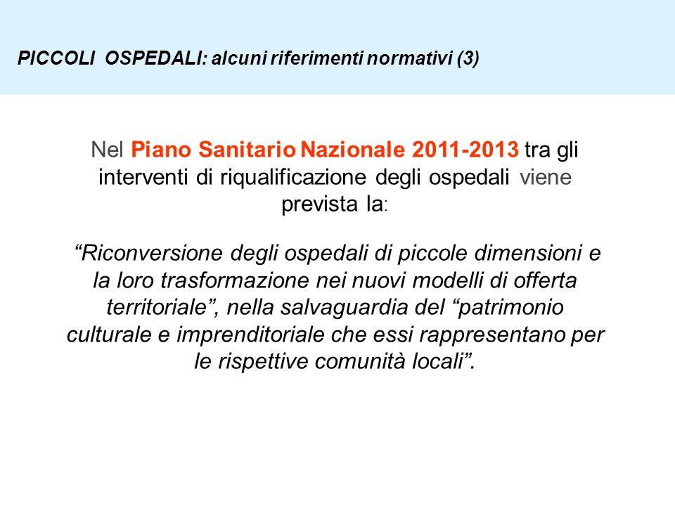 PICCOLI OSPEDALI: alcuni riferimenti normativi (3)