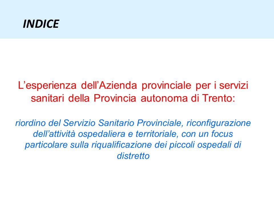 INDICE L'esperienza dell'Azienda provinciale per i servizi sanitari della Provincia autonoma di Trento: