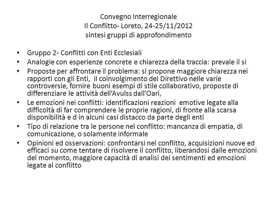 Convegno Interregionale Il Conflitto- Loreto, 24-25/11/2012 sintesi gruppi di approfondimento