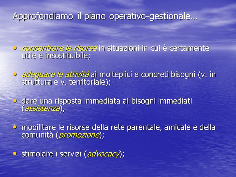 Approfondiamo il piano operativo-gestionale…