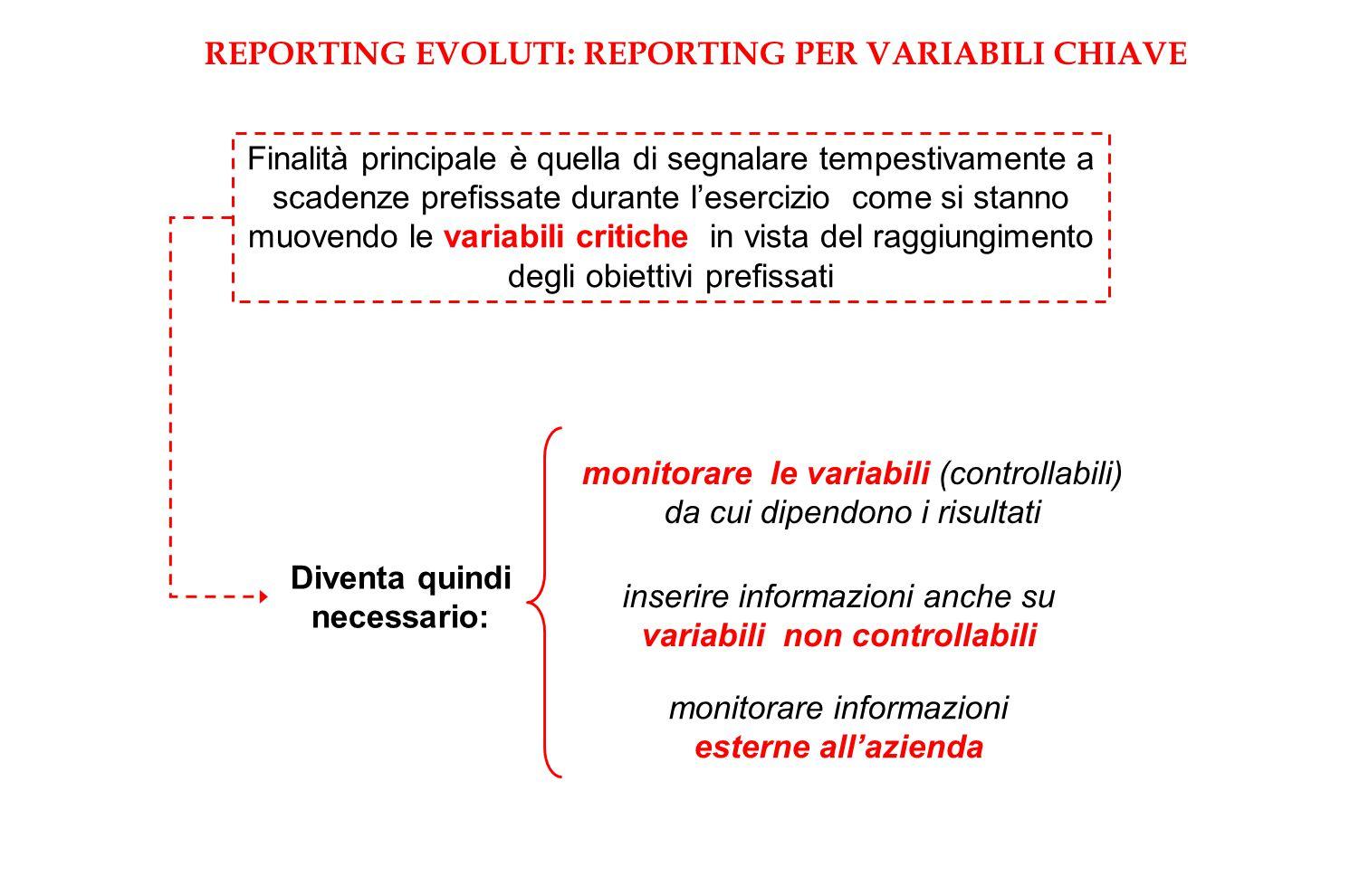 REPORTING EVOLUTI: REPORTING PER VARIABILI CHIAVE
