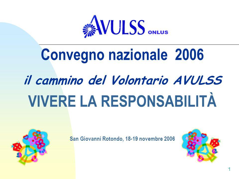 Convegno nazionale 2006 il cammino del Volontario AVULSS VIVERE LA RESPONSABILITÀ San Giovanni Rotondo, 18-19 novembre 2006