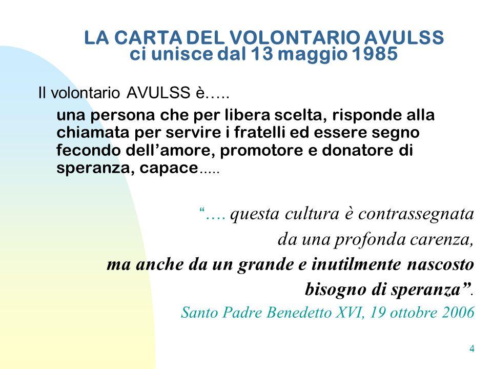 LA CARTA DEL VOLONTARIO AVULSS ci unisce dal 13 maggio 1985