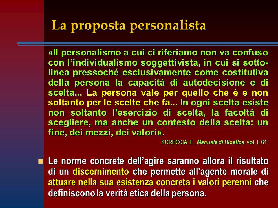 La proposta personalista