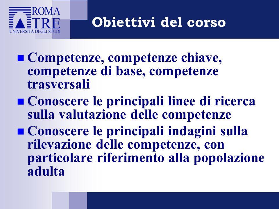 Obiettivi del corso Competenze, competenze chiave, competenze di base, competenze trasversali.