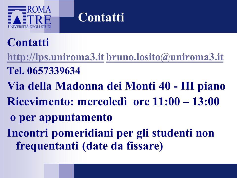 Contatti Contatti Via della Madonna dei Monti 40 - III piano