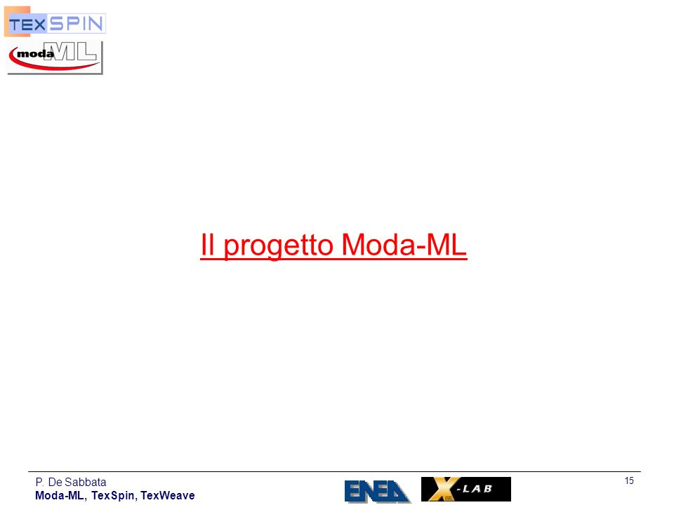 Il progetto Moda-ML P. De Sabbata Moda-ML, TexSpin, TexWeave