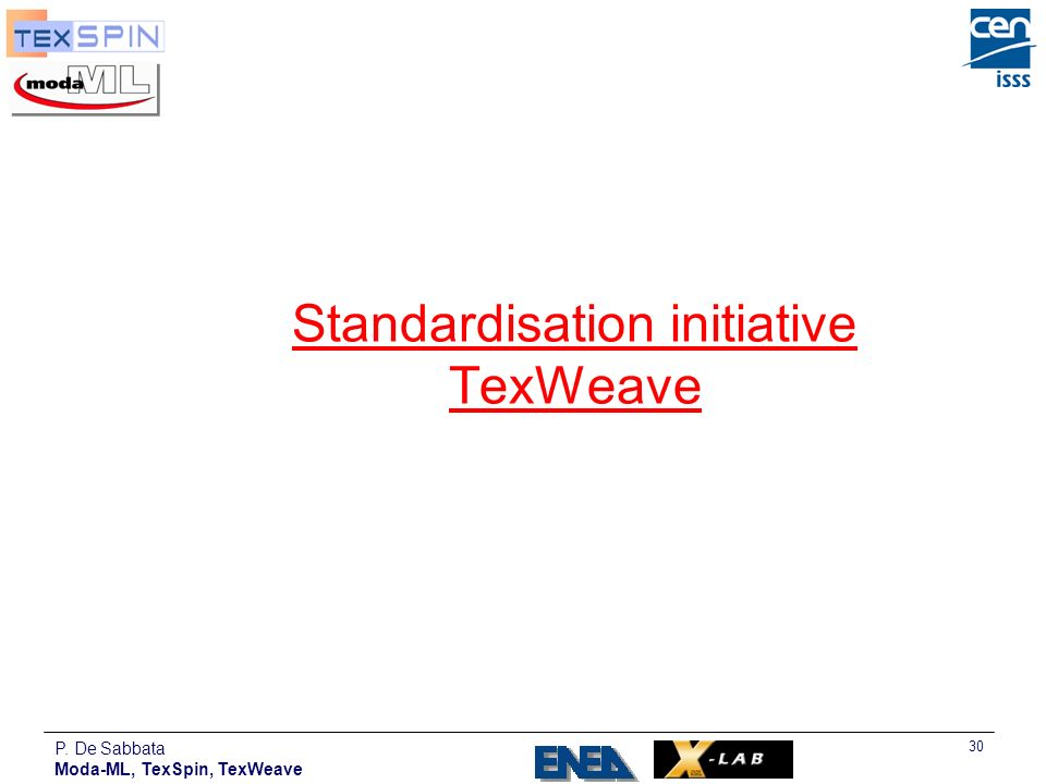 Standardisation initiative TexWeave