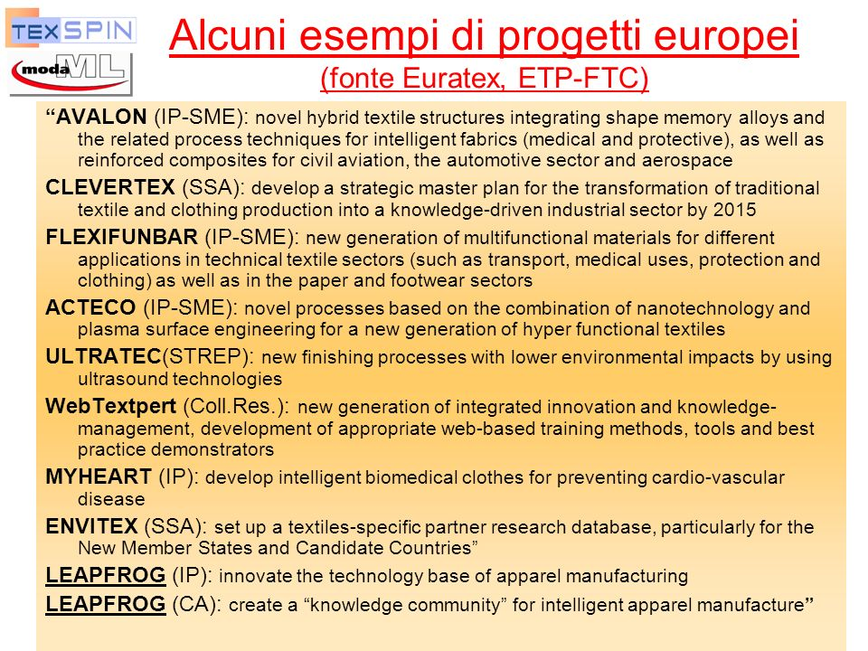 Alcuni esempi di progetti europei (fonte Euratex, ETP-FTC)
