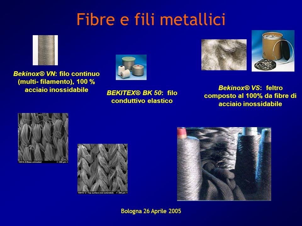 Fibre e fili metalliciBekinox® VN: filo continuo (multi- filamento), 100 % acciaio inossidabile.