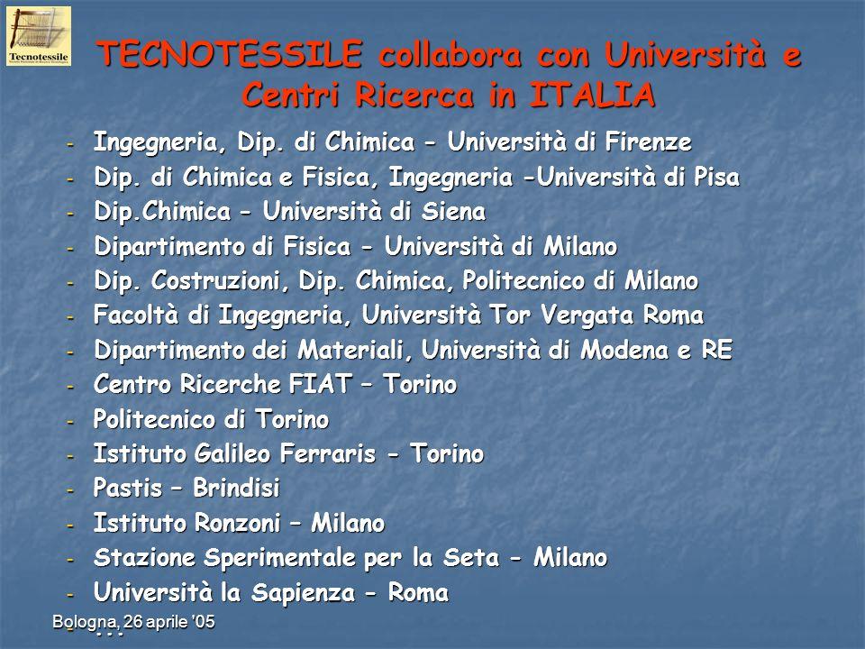 TECNOTESSILE collabora con Università e Centri Ricerca in ITALIA