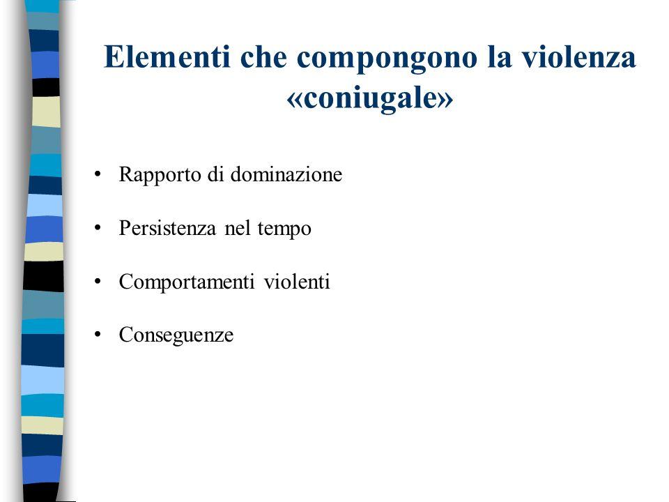 Elementi che compongono la violenza «coniugale»