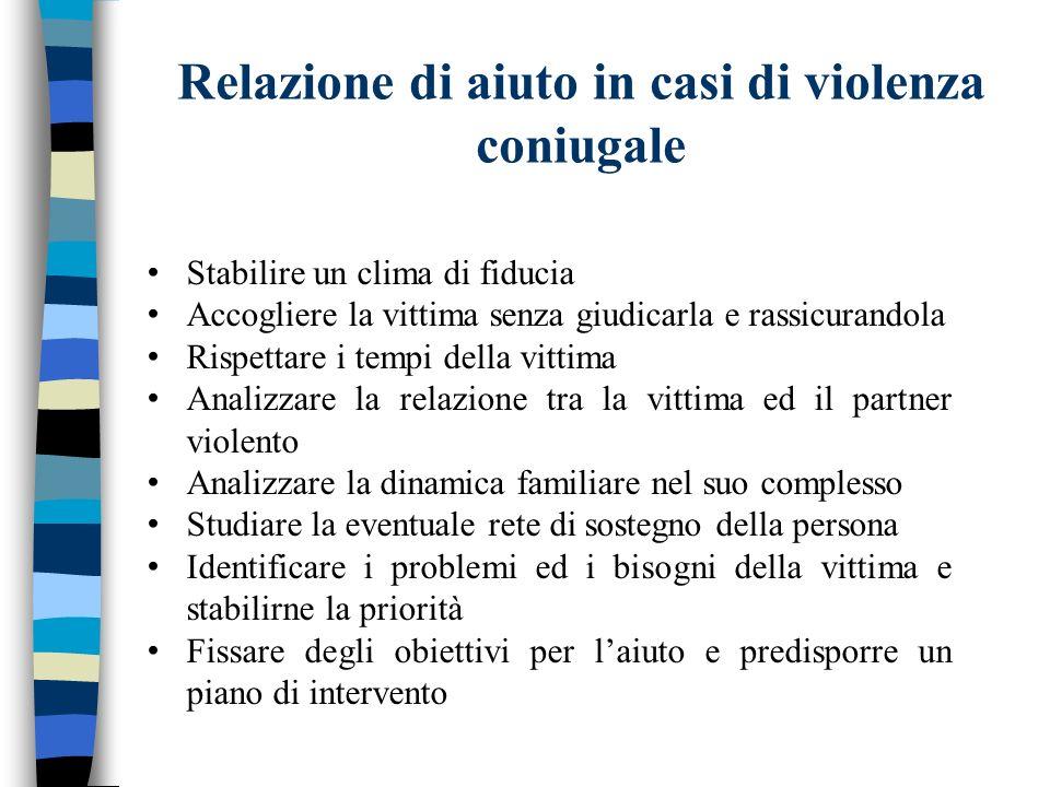 Relazione di aiuto in casi di violenza coniugale