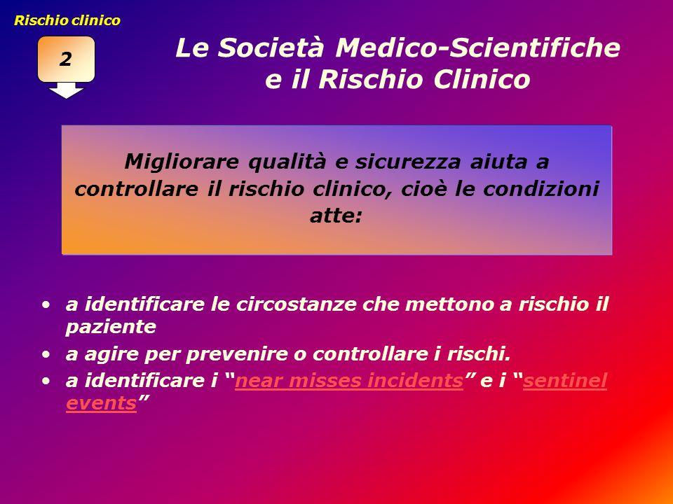 Le Società Medico-Scientifiche e il Rischio Clinico