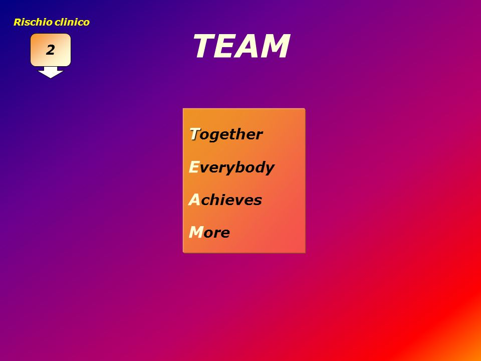 2 Rischio clinico TEAM Together Everybody Achieves More