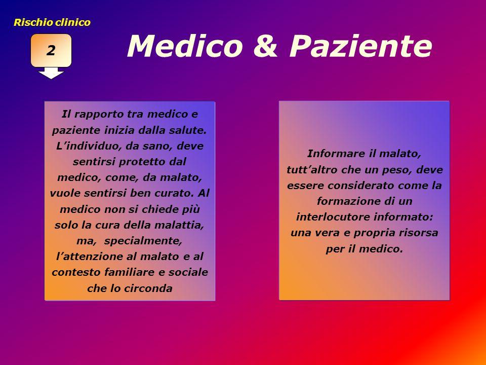2 Rischio clinico. Medico & Paziente.