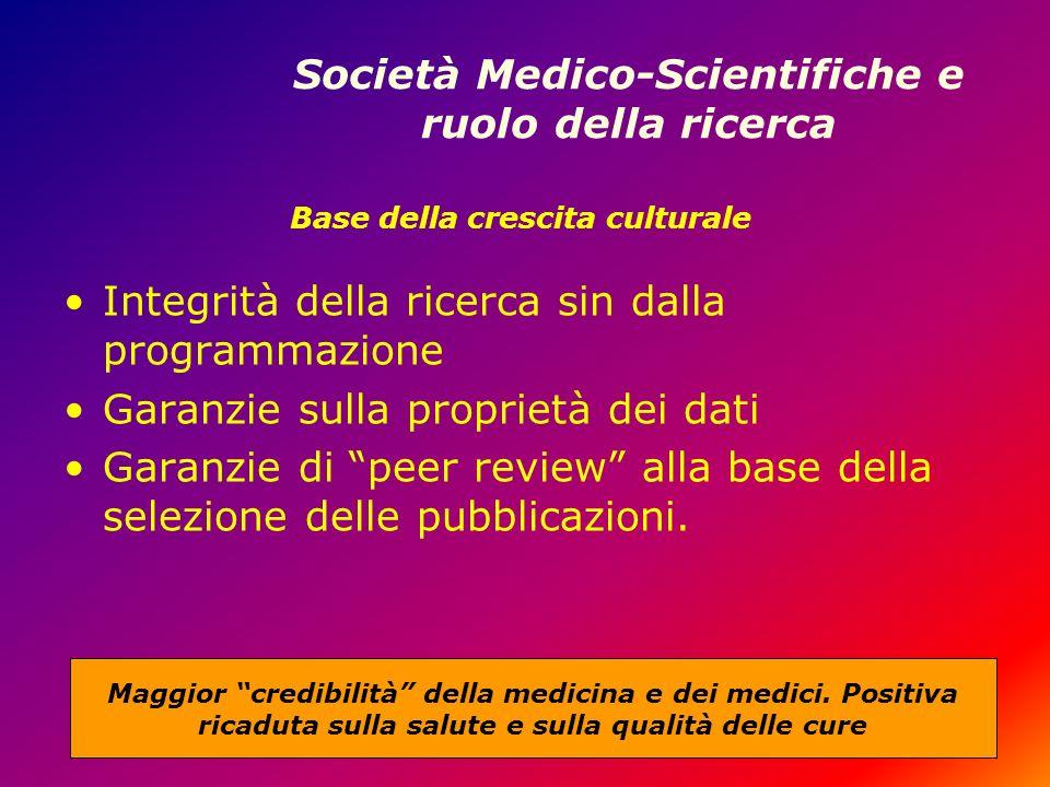 Società Medico-Scientifiche e ruolo della ricerca