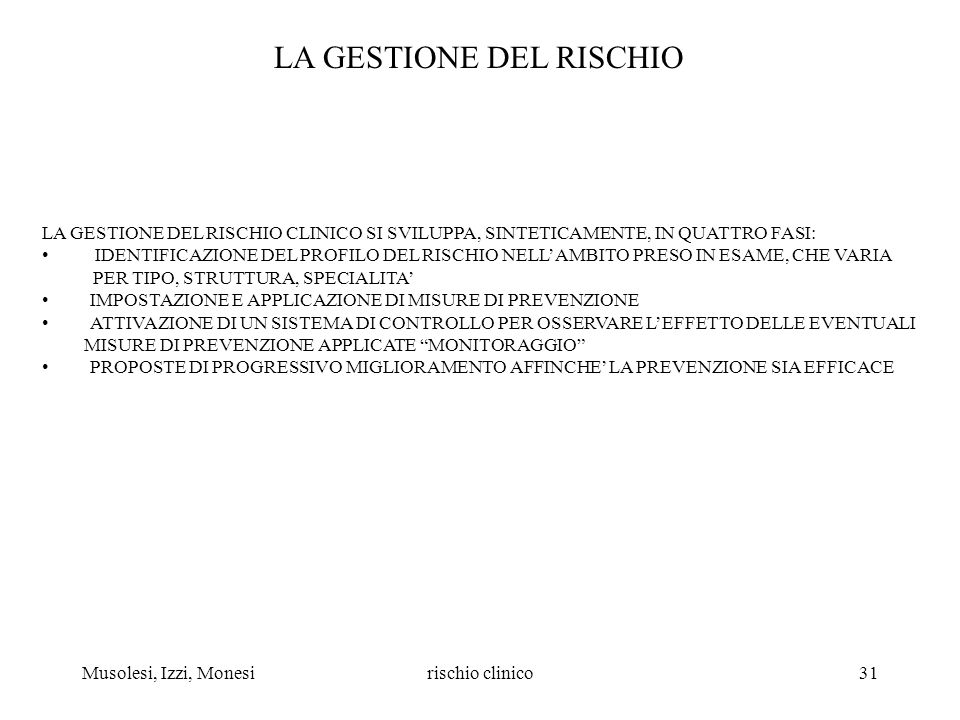 LA GESTIONE DEL RISCHIO