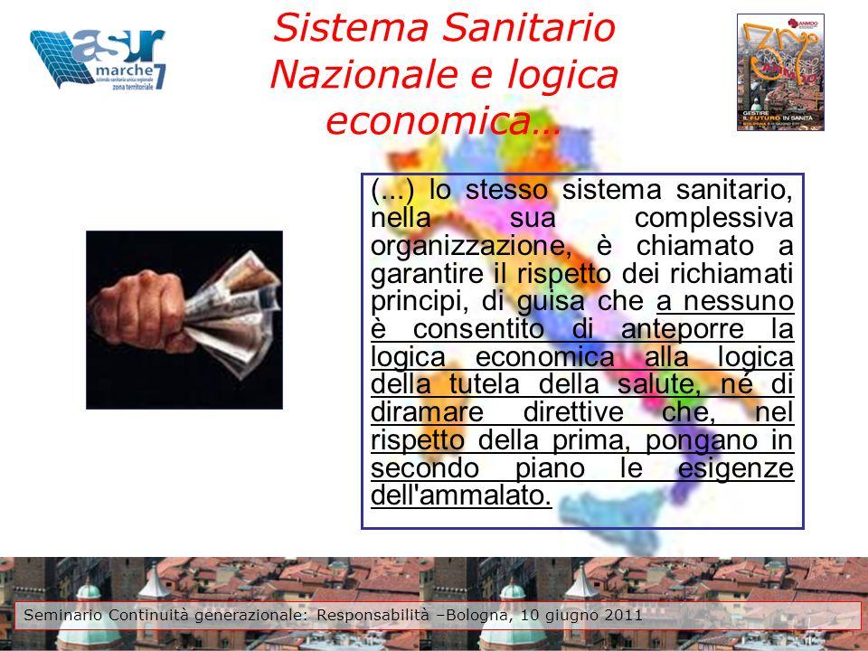 Sistema Sanitario Nazionale e logica economica…