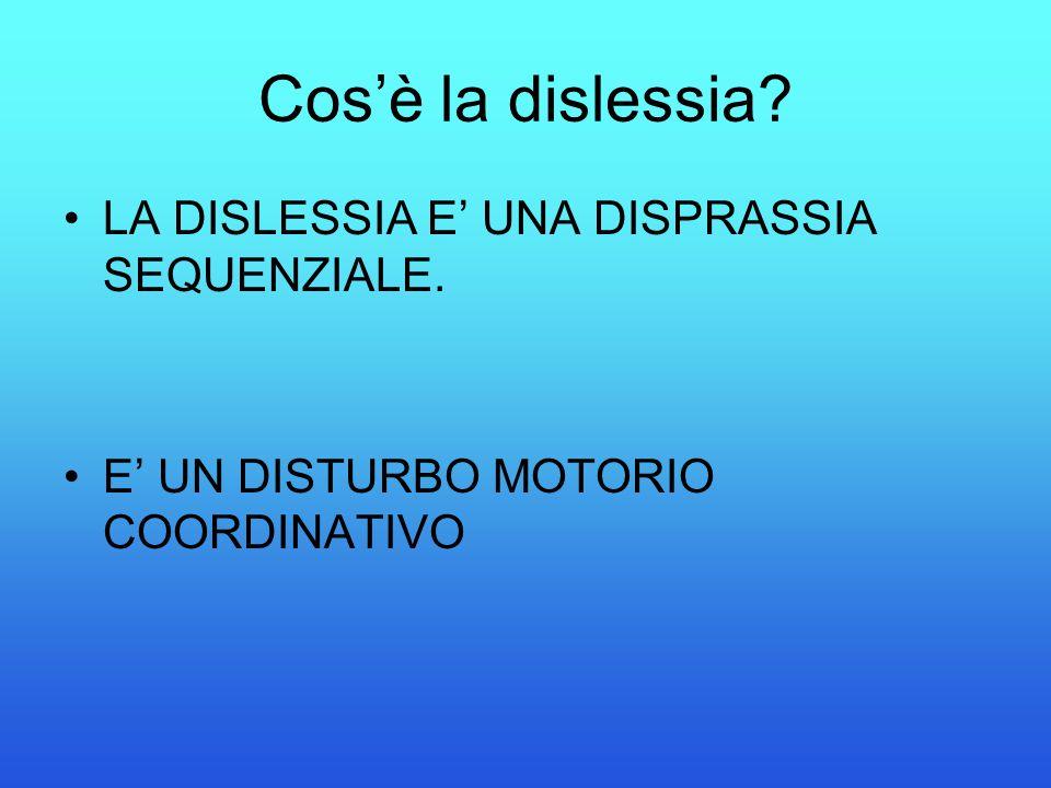 Cos'è la dislessia LA DISLESSIA E' UNA DISPRASSIA SEQUENZIALE.