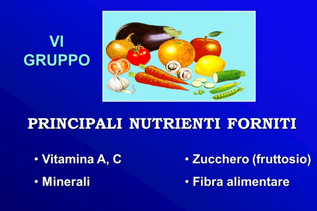 PRINCIPALI NUTRIENTI FORNITI