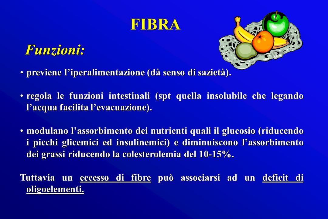 FIBRA Funzioni: previene l'iperalimentazione (dà senso di sazietà).