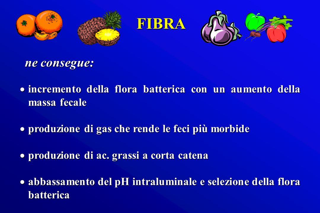 FIBRA ne consegue: incremento della flora batterica con un aumento della massa fecale. produzione di gas che rende le feci più morbide.