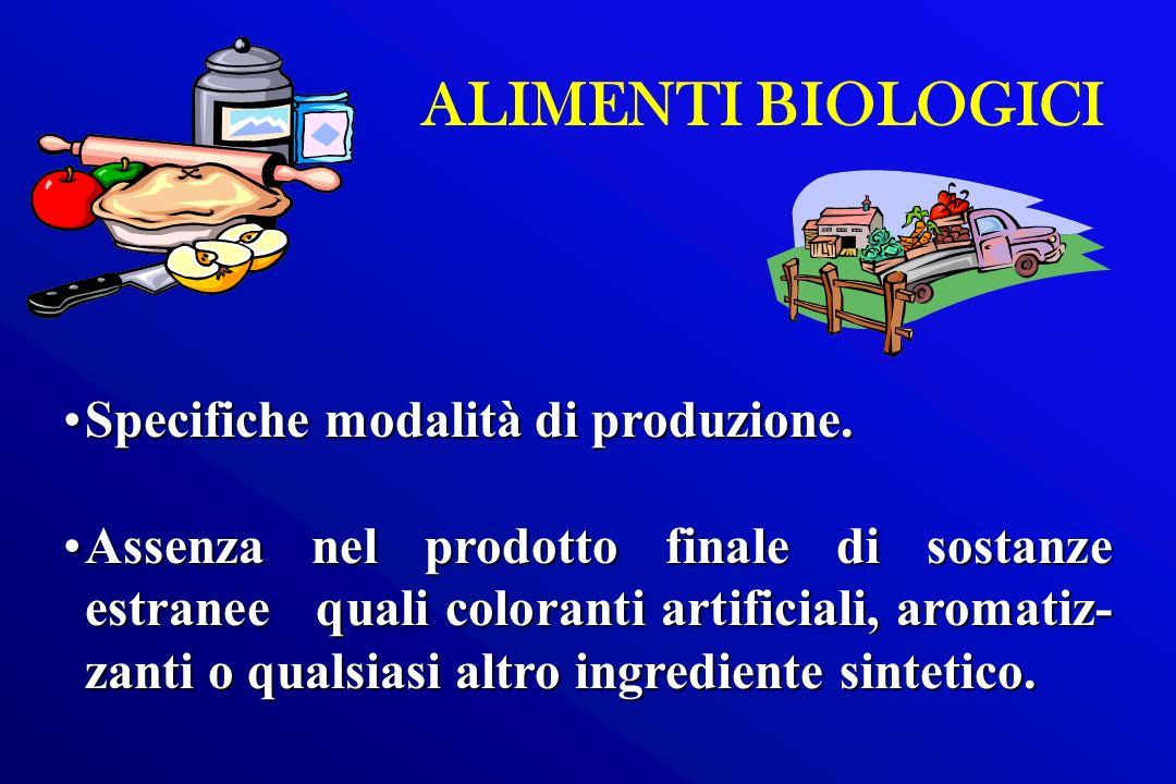 ALIMENTI BIOLOGICI Specifiche modalità di produzione.