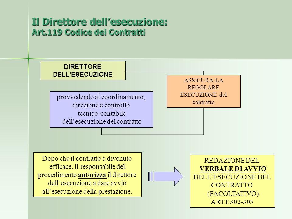 Il Direttore dell'esecuzione: Art.119 Codice dei Contratti