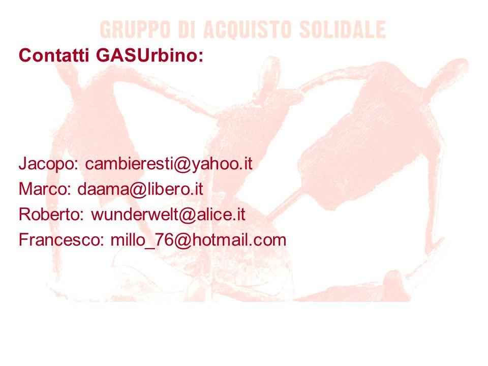 Contatti GASUrbino: Jacopo: cambieresti@yahoo.it