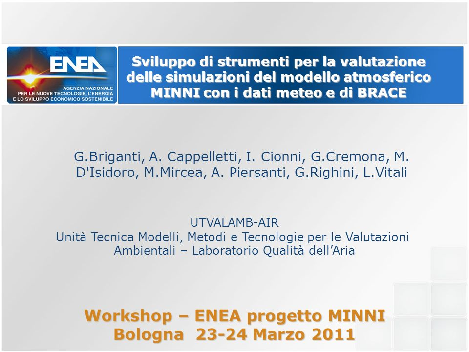 Workshop – ENEA progetto MINNI