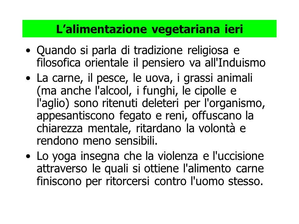 L'alimentazione vegetariana ieri