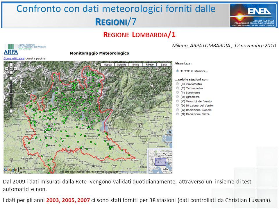Confronto con dati meteorologici forniti dalle Regioni/7
