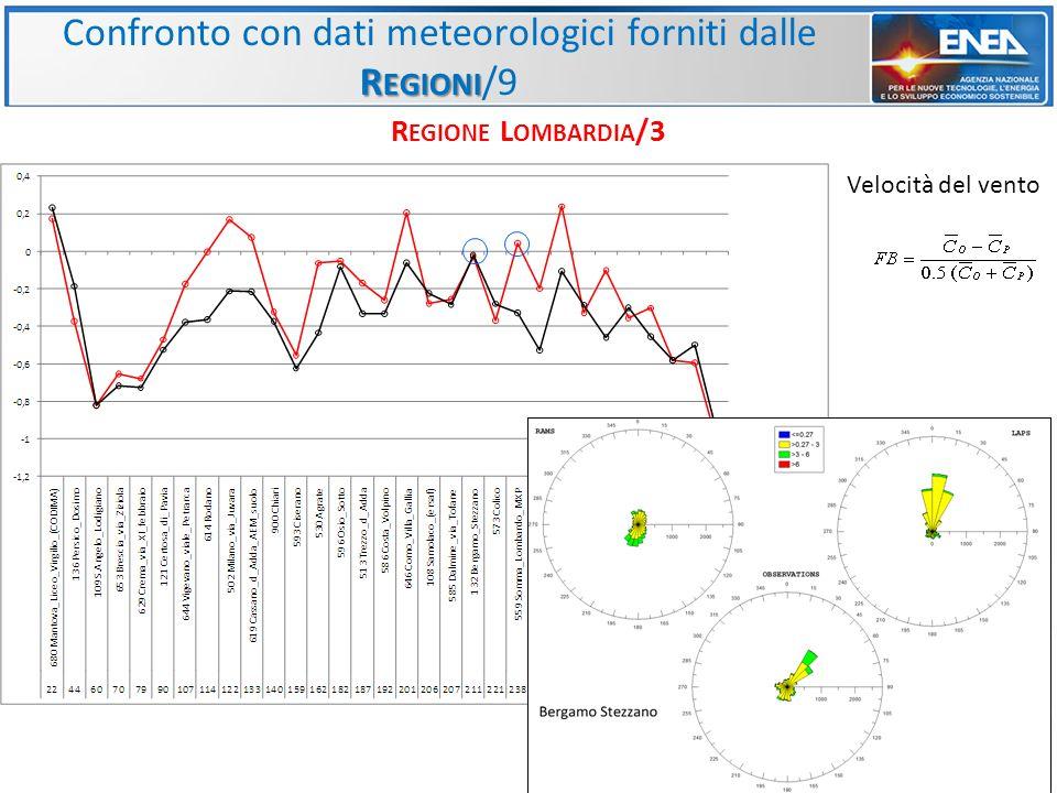 Confronto con dati meteorologici forniti dalle Regioni/9