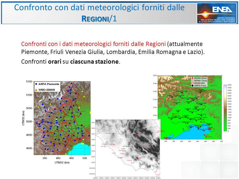 Confronto con dati meteorologici forniti dalle Regioni/1
