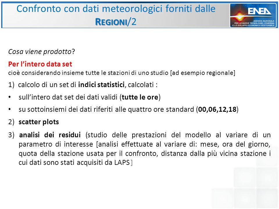 Confronto con dati meteorologici forniti dalle Regioni/2