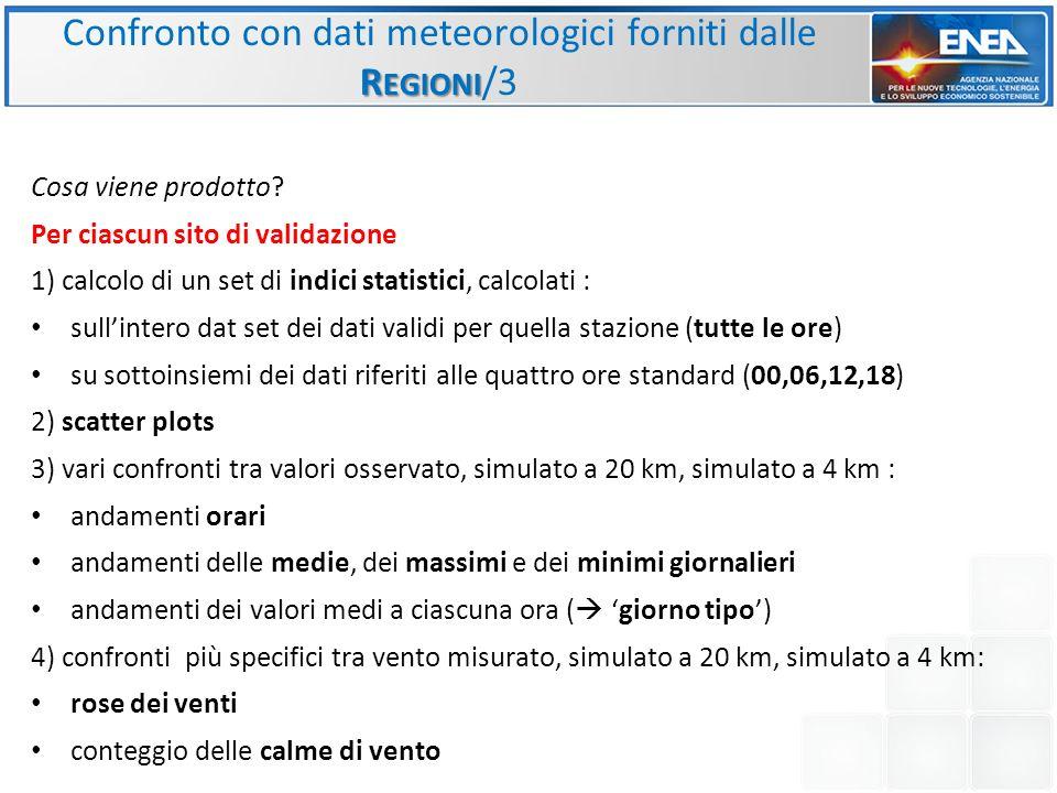 Confronto con dati meteorologici forniti dalle Regioni/3