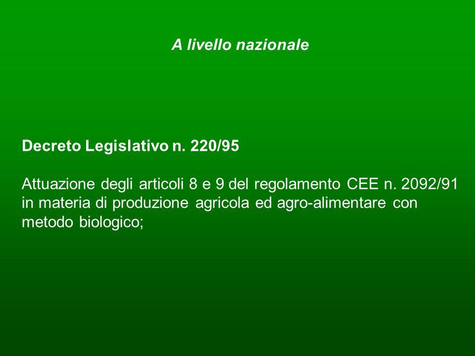 A livello nazionaleDecreto Legislativo n. 220/95.