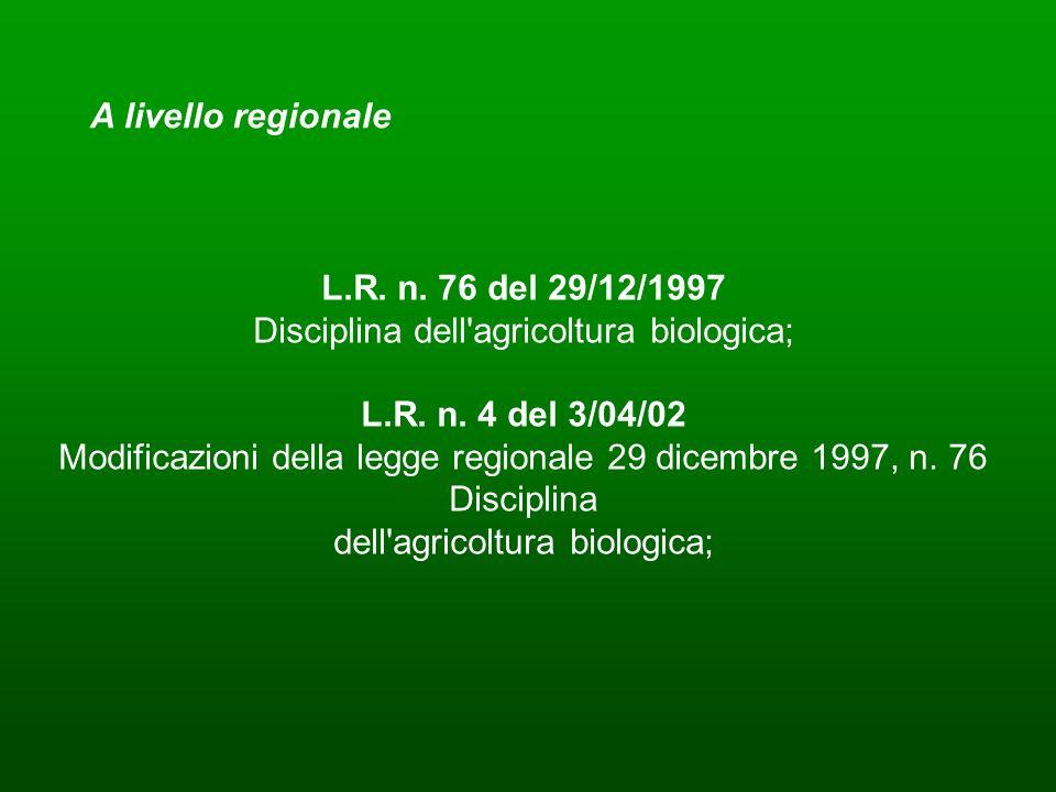 L.R. n. 76 del 29/12/1997 Disciplina dell agricoltura biologica;