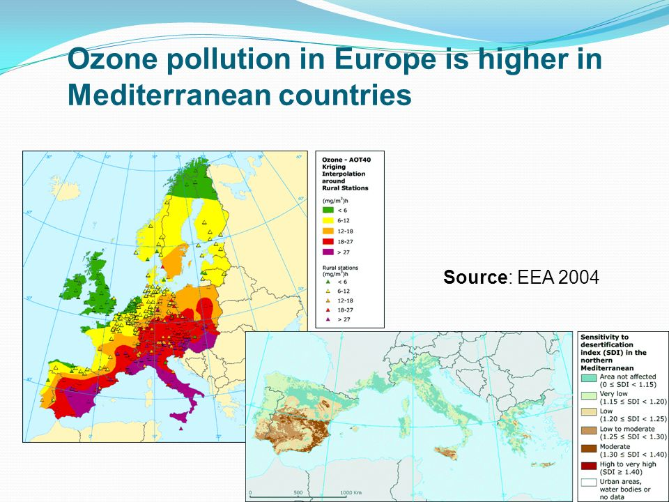 Ozone pollution in Europe is higher in Mediterranean countries