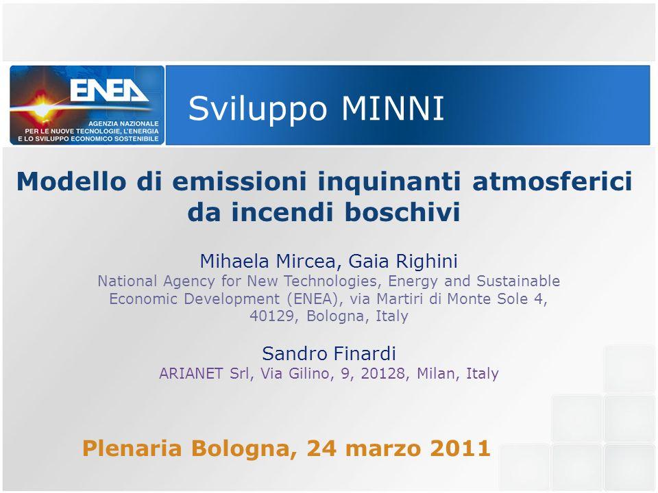 Modello di emissioni inquinanti atmosferici da incendi boschivi