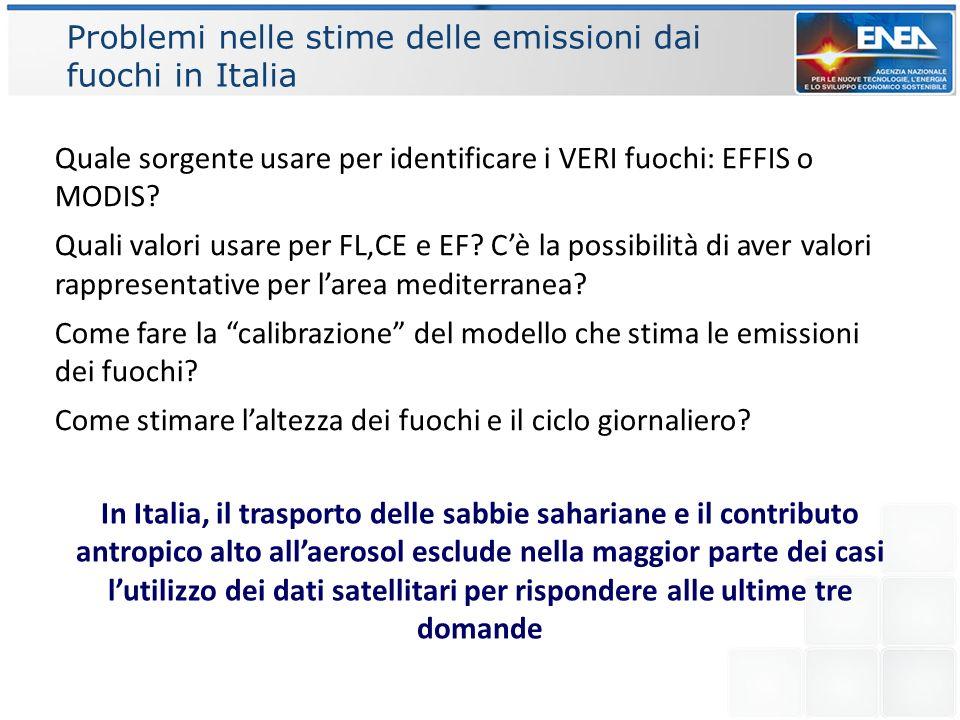 Problemi nelle stime delle emissioni dai fuochi in Italia